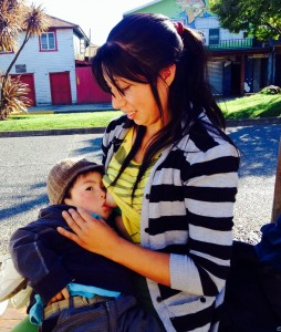 A young Chilean mother proud to be breastfeeding her toddler in public. She was madly kissing him before she started feeding, that was what caught my eye.